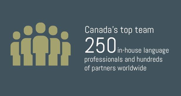 Canada's top team. 250 in-house language professionals and hundreds of partners worldwide
