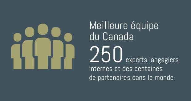 Meilleure équipe du Canada. 250 experts langagiers internes et des centaines de partenaires dans le monde