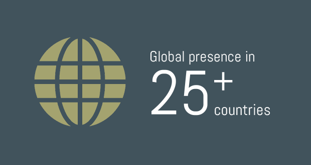 Global presence in 25 + countries