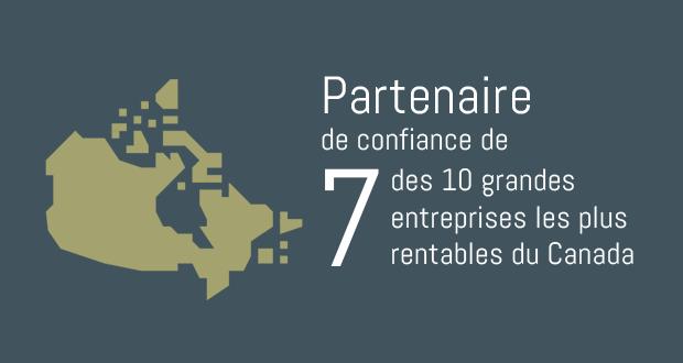 Partenaire de confiance de 7 des 10 grandes entreprises les plus rentables au Canada