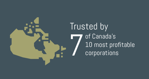 Trusted by 7 of Canada's 10 most profitable corporations